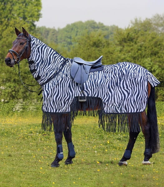 Fliegenausreitdecke Zebra mit Fransen 135cm